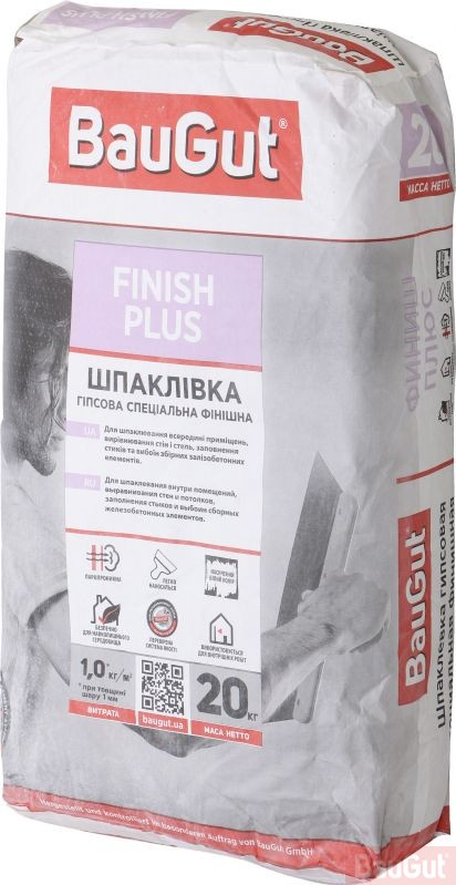 Шпаклівка BauGut Finish Plus 20 кг