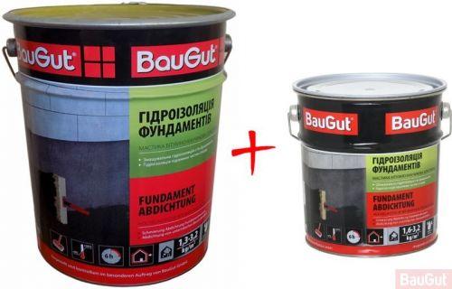 Мастика битумно-каучуковая BauGut гидроизоляция фундамента, 18 кг+3,5 кг 21,5 кг