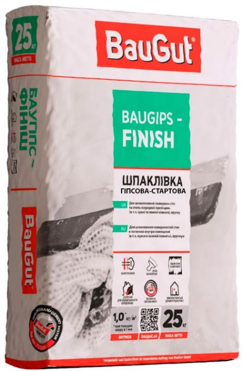 Шпаклівка фінішна BauGut Baugips-FINISH 25 кг